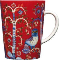 """iittala Taika Red Mug Enjoy a cup of coffee or a hot chocolate in the iittala Taika Red Mug. Meaning """"Magic"""" in Finnish, the Taika pattern by Klaus Haapaniemi features fanciful foxes and ornate owls inhabiting a mysterious ."""
