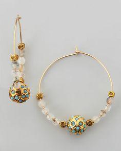 Les Amis Sada Beaded Hoop Earrings - Neiman Marcus