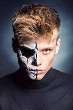 Halloween Hair, Halloween Makeup Looks, Halloween Food For Party, Halloween Make Up, Halloween Ideas, Mens Face Paint, Half Skull Face Paint, Male Makeup, Zombie Makeup