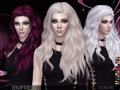 Stealthic - Temptress (Female Hair) - The Sims 4 Catalog Sims 4 Curly Hair, Sims Hair, Curly Hair Styles, Sims 4 Tsr, Sims Cc, Sims 4 Cc Folder, The Sims 4 Cabelos, Pelo Sims, Sims 4 Cc Makeup