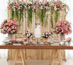 Bridal Shower Table Set Up Backdrops 45 Best Ideas Wedding Cake Table Decorations, Wedding Table, Rustic Wedding, Wedding Ideas, Dessert Table Backdrop, Wedding Cakes, Pallet Wedding, Garden Wedding, Wedding Lunch