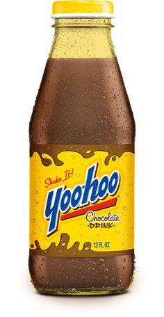 Yoo-hoo bottle. similar color scheme and retro type treatment