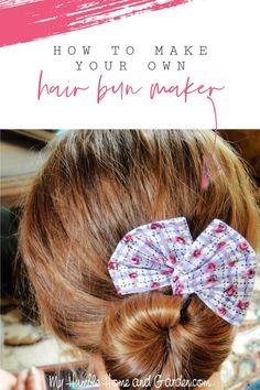 An Easy Way To Make A Fabric Hair Bun Maker - My Humble Home and Garden Fabric Hair Bows, Diy Hair Bows, Elegant Hairstyles, Bun Hairstyles, Diy Hair Bun Maker, Bun Bow, Elegant Bun, Wire Headband, Handmade Hair Accessories