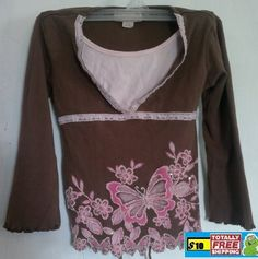Knit Work brown pink butterfly blouse $10.50