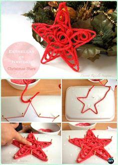 DIY Yarn Star Ornament Instruction - DIY #Christmas #Ornament Craft Ideas For Kids