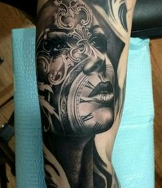 Our Website is the greatest collection of tattoos designs and artists. Find Inspirations for your next Clock Tattoo. Search for more Tattoos. Skull Tattoos, Leg Tattoos, Body Art Tattoos, Girl Tattoos, Tatoos, Octopus Tattoos, Buddha Tattoos, Dragon Tattoos, Finger Tattoos