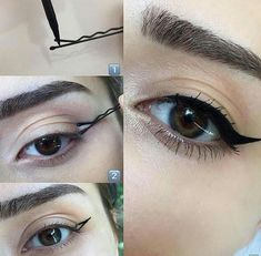 No effing way! LOOK at this trick for a winged eyeliner Cham.- No effing way! LOOK at this trick for a winged eyeliner No effing way! LOOK at this trick for a winged eyeliner – – - Eyeliner Hacks, Cat Eyeliner, How To Apply Eyeliner, Applying Eyeliner, Perfect Winged Eyeliner, Makeup Hacks Winged Eyeliner, Eyeliner Pencil, Eyeliner Brands, Makeup Eyebrows