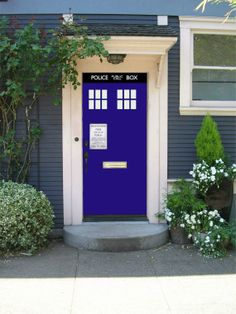 Doctor who inspired Tardis decal door set vinyl decal  sticker 32 inches bad wolf