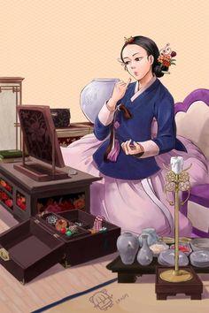 Korean Illustration, Beauty Illustration, Korean Traditional Dress, Traditional Outfits, Korean Art, Cute Korean, Korean Painting, Korean Hanbok, Anime Love Couple