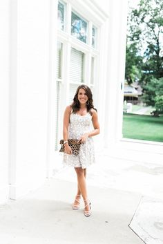 Glitter & Gingham -Whit and beige floral dress+white ankle strap heeled sandals+leopard clutch. Summer Mornin Event outfit 2016