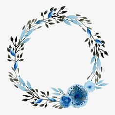 Blue flowers, Watercolor, Chinoiserie Source by Frame Floral, Flower Frame, Flower Crown, Wreath Watercolor, Watercolor Wedding, Watercolor Flowers, Watercolor Art, Vintage Flowers, Blue Flowers
