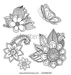 Drawn by hand beautiful set of floral elements  made in a vector. The image can be used in the design of a greeting card, or invitation can be used for web sites and their own design projects.