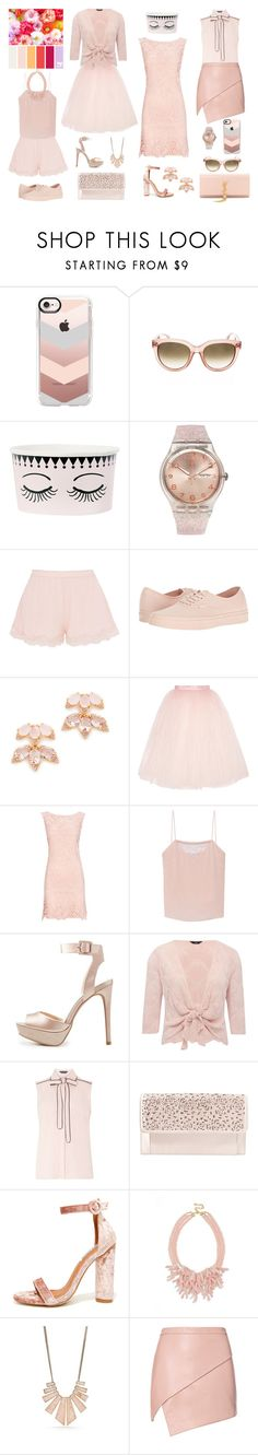 """""""Color Chip 1: Blush"""" by kaytekix ❤ liked on Polyvore featuring Casetify, Swatch, STELLA McCARTNEY, Vans, Kate Spade, Ballet Beautiful, Tanya Taylor, Qupid, M&Co and Dorothy Perkins"""