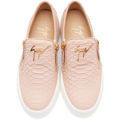 Giuseppe Zanotti Pink Croc-Embossed London Slip-On Sneakers (11,425 MXN) ❤ liked on Polyvore featuring shoes, sneakers, pull on sneakers, zip sneakers, slip on sneakers, crocs shoes and crocodile sneakers