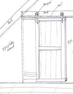 DIY #Schuifdeur van #steigerhout via de Karwei Closet Bedroom, Home Bedroom, Scaffolding Wood, Build A Closet, Exposed Brick Walls, Wooden Projects, Bathroom Kids, Diy Door, New Room