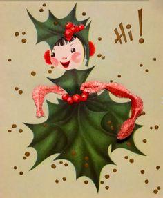 Vintage Christmas card holly girl.