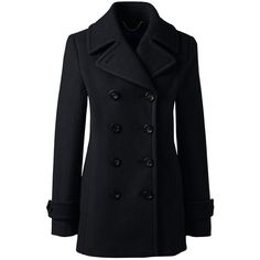 Lands' End Women's Petite Wool Peacoat (5,070 PHP) ❤ liked on Polyvore featuring outerwear, coats, jackets, black, casaco, petite pea coat, pea coat, woolen coat, wool peacoat and wool pea coat