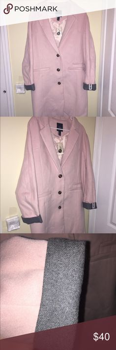 🎉HP🎉 NWT Pink Women's Coat (Size L) New With Tags. Never Used. It doesnt have pockets just a design like that of a pocket. Forever 21 Jackets & Coats Trench Coats