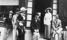 """Gabrielle """"Coco"""" Chanel and Boy Capel in front of Chanel's Deauville Boutique."""