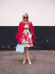 Fabulous fresh floral Eliza J dress from Nordstrom with perfect accessories