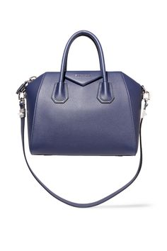 GIVENCHY Small Antigona bag in navy textured-leather Navy textured-leather (Goat) Two top handles, detachable shoulder strap Designer plaque, silver hardware Internal zipped and pouch pockets Fully lined in black canvas Zip fastening along top Comes with dust bag Weighs approximately 2.9lbs/ 1.3kg Made in Italy