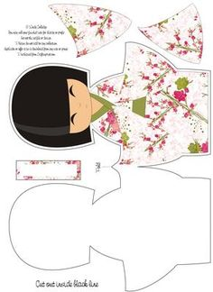 Large Kokeshi Doll Shaped Card on Craftsuprint designed by Wendy Colledge - A Beautiful Japanese Kokeshi Doll shaped card. Print out, cut out all the elements, layer and embellish as you wish. A blank sentiment plate is included should you want to personalise it. Very sweet! - Now available for download!