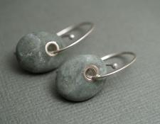 Green pebble earrings