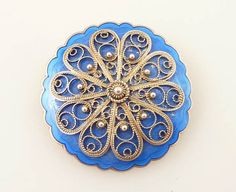 SALE --- Vintage Sky Blue Sky Enamel and Norwegian Sterling Filigree Brooch on Etsy, $41.94