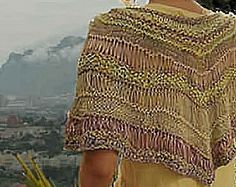 Free range capelet. Variety of yarns, about 300 yds, 6.5 mm