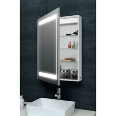 Lana Aluminium Bathroom Cabinet with LED Lights and Demister with Infra Red Sensor and Shaver Socket