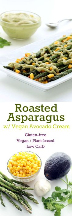 Roasted Asparagus with Vegan Avocado Cream Collage