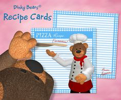 Funny Dinky Bears Pizza Recipe Cards - Digital Download by DinkyPrints