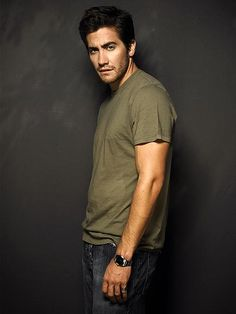 Jake Gyllenhaal. T-shirt & Jeans. Olive = best color on anyone.