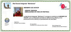 Johana Tablada Miembro de Honor de la RSI Martianos