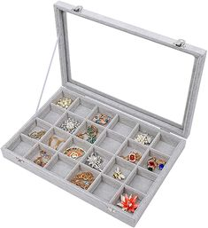 Amazon.com: STYLIFING Clear Lid Velvet 24 Grid Jewelry Tray Transparent Jewelry Display Showcase Lockable Felt Jewelry Storage Organizer Charm Box Holder Gifts for Girls Women: Home & Kitchen Jewelry Tray, Jewellery Storage, Jewellery Display, Jewelry Organization, Closet Accessories, Jewelry Accessories, Rock Box, Ring Storage, Earring Box