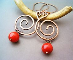 Wire Wrapped Spiral Earrings Copper and Red by GearsFactory