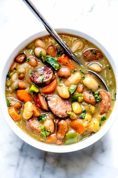 Creamy Bean Soup with Sausage | foodiecrush.com Kielbasa Soup, Kielbasa Sausage, Kilbasa Sausage Recipes, Recipes With Kielbasa, Bean And Sausage Soup, Red Bean Soup, Bean Recipes, Healthy Recipes, Hot Soup