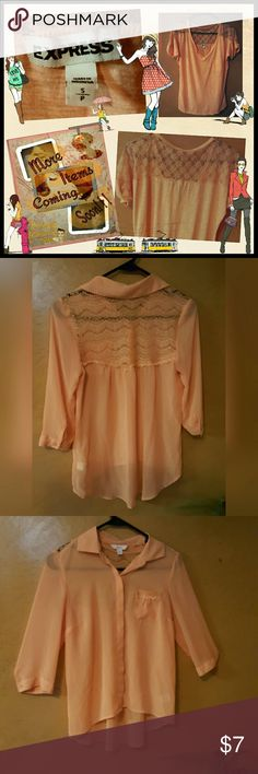 Peach Sheer Blouse By Candie's ITEM: Candie's Peach Sheer Blouse BRAND: Candies COLOR: Peach CONDITION: ?LIKE NEW? No signs of wear, no stains or holes SIZE: XSMALL Candie's Tops Blouses