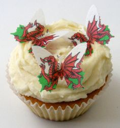 From 24 X Pre Cut Welsh Wales St Davids Day Flag Butterfly Butterflies Fairy Muffin Cup Cake Toppers Decoration Edible Rice Wafer Paper Saint David's Day, Butterfly Fairy, Wafer Paper, Muffin Cups, Rice Paper, Welsh, Cake Toppers, Desserts, Food