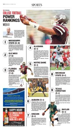On the Ball: College Football Power Rankings—Week 8 Sport Inspiration, Layout Inspiration, Graphic Design Tips, Print Design, Magazine Layout Design, Magazine Layouts, Newspaper Design Layout, Yearbook Design, Sports Marketing