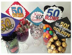 Very clever centerpiece ideas for milestone birthdays!  Use these ideas for 30, 40, 50...year old birthdays.  Colorful, fun and yummy!