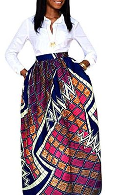 6880927fb6d EnlaChic Women African Print Plus Size High Waist Ankara Maxi Skirt