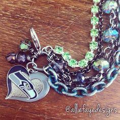 Seattle Seahawks Football Multichain Rhinestone and Crystals Charm Bracelet on Etsy, $35.00