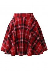 Red Plaid Check Skater Skirt - Retro, Indie and Unique Fashion