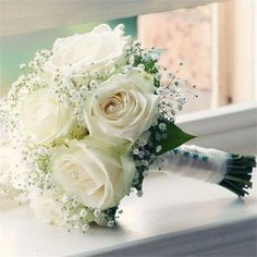 Bridal Flowers Bouquet Blue White Roses Ideas For 2019 Rose Bridal Bouquet, Bride Bouquets, Bridal Flowers, White Rose Bouquet, White Roses Wedding, Bridesmaid Flowers, Wedding Flower Bouquets, Bridesmaid Dresses, Gypsophila Bouquet