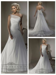A-line Wedding Dresses with One Shoulder Neckline and Corset Closure #wedding…