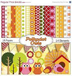 Digital Scrapbooking: Polka Dot Owls Scrapbook Kit