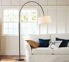Pottery Barn Winslow Arc Sectional Floor Lamp with Natural Burlap Shade - Saw it an open house and fell in love with it!