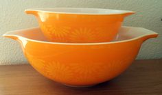 Vintage Pyrex Orange and Yellow Daisy Cinderella Mixing Bowls Set of 2 by ThatOneThing on Etsy
