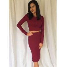 Two piece dress Beautiful burgundy two piece long sleeve dress Dresses